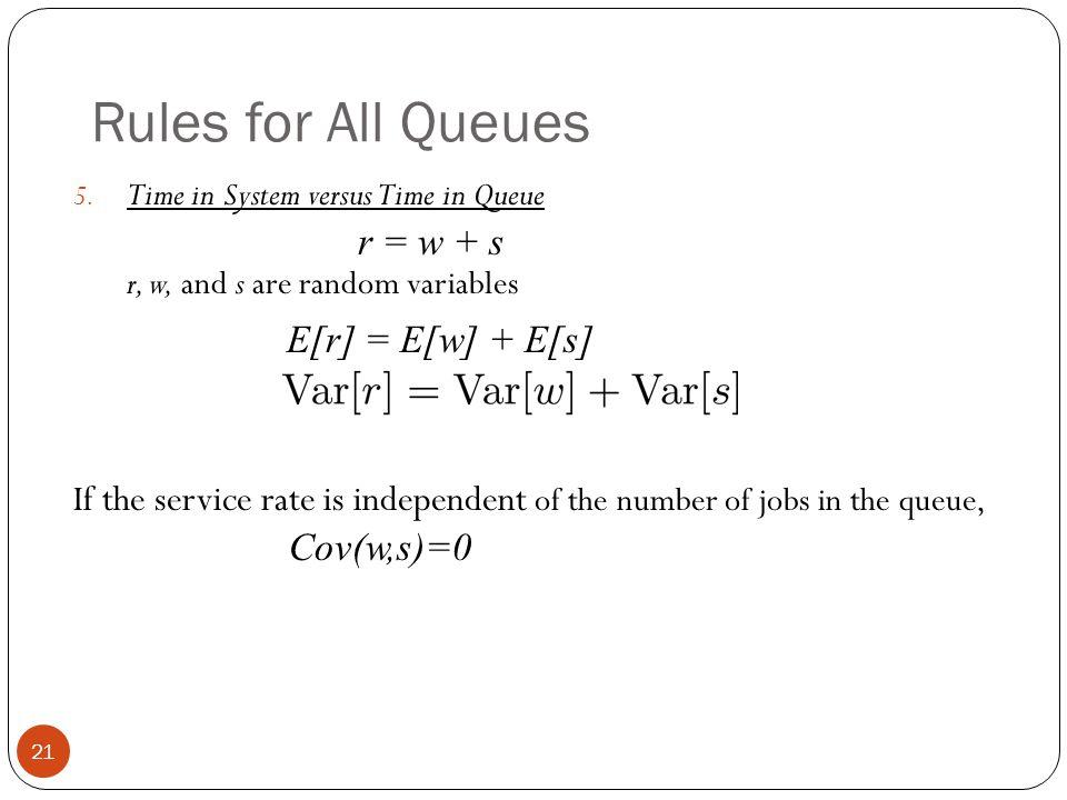 Rules for All Queues E[r] = E[w] + E[s]